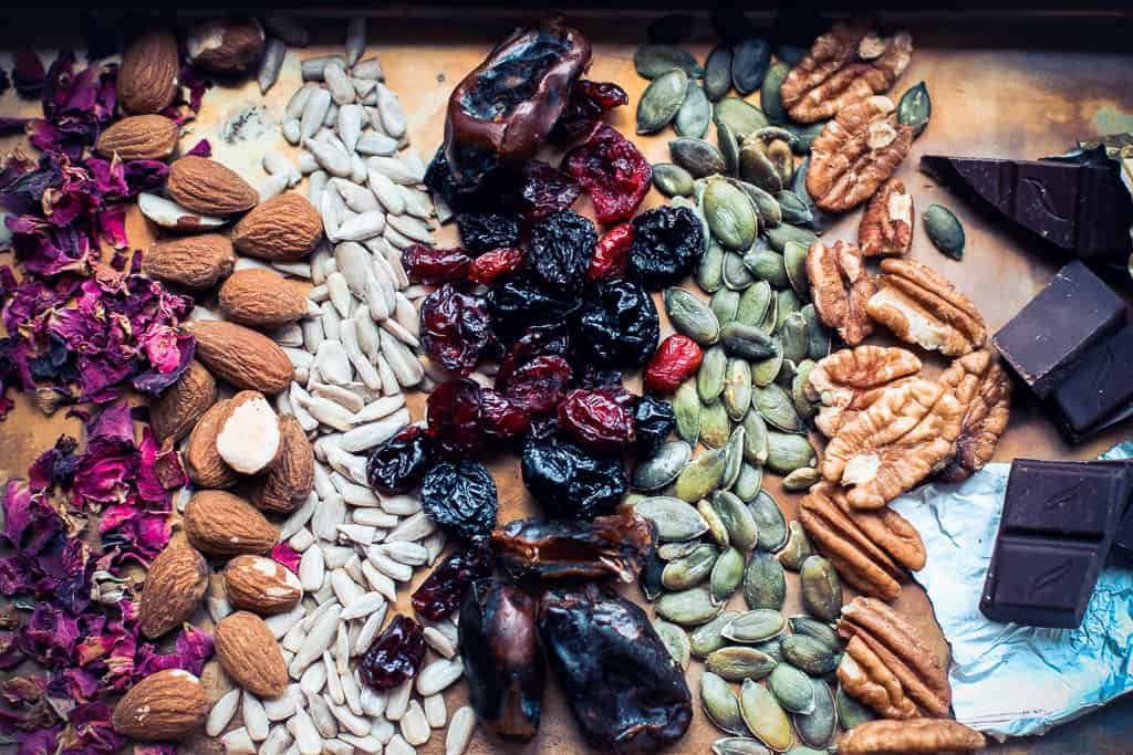 A healthy selection of fruits, nuts and seeds