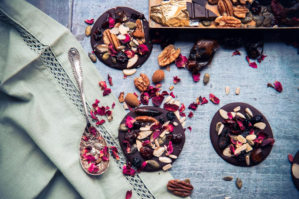 Dark chocolate fruit and nut thins made with pecans and almonds