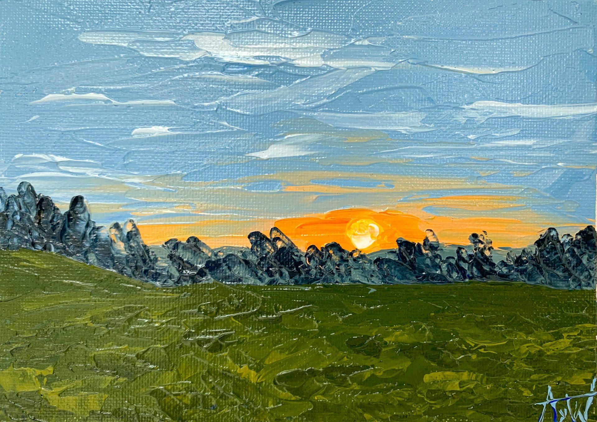 the sun is setting, golden sunset, spring landscape
