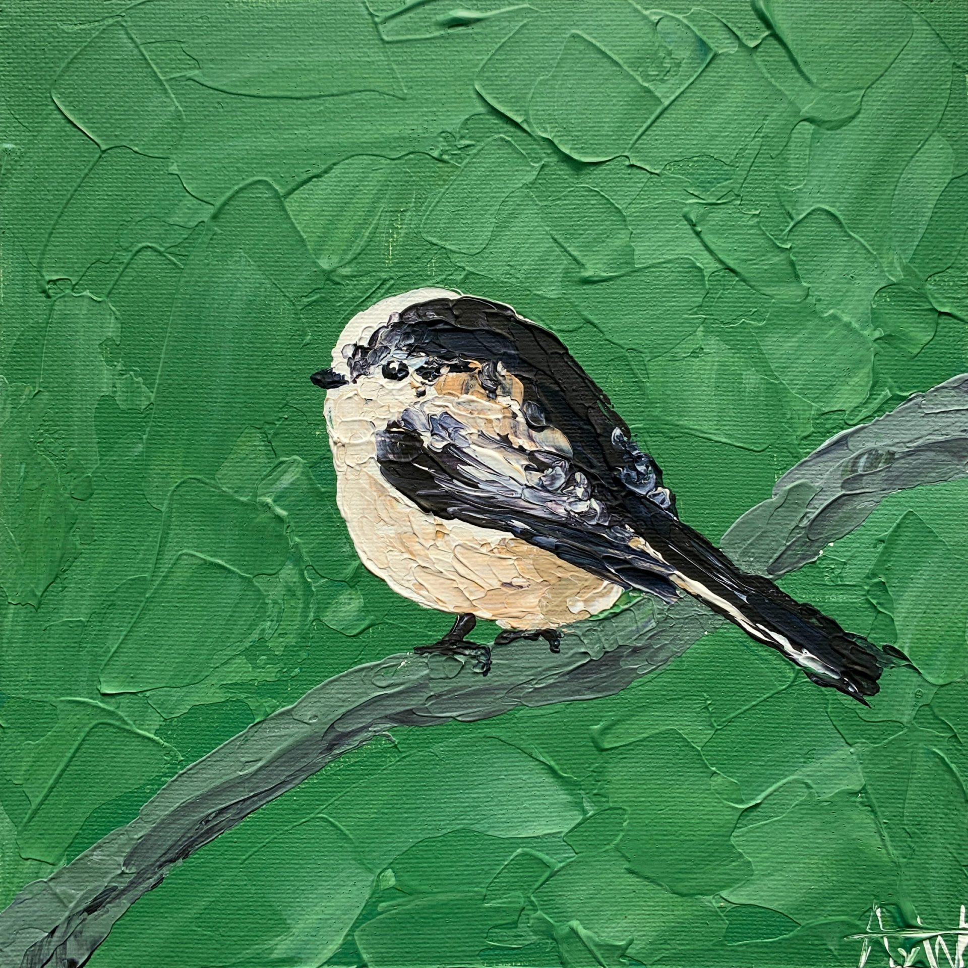 Long-tailed tit painting
