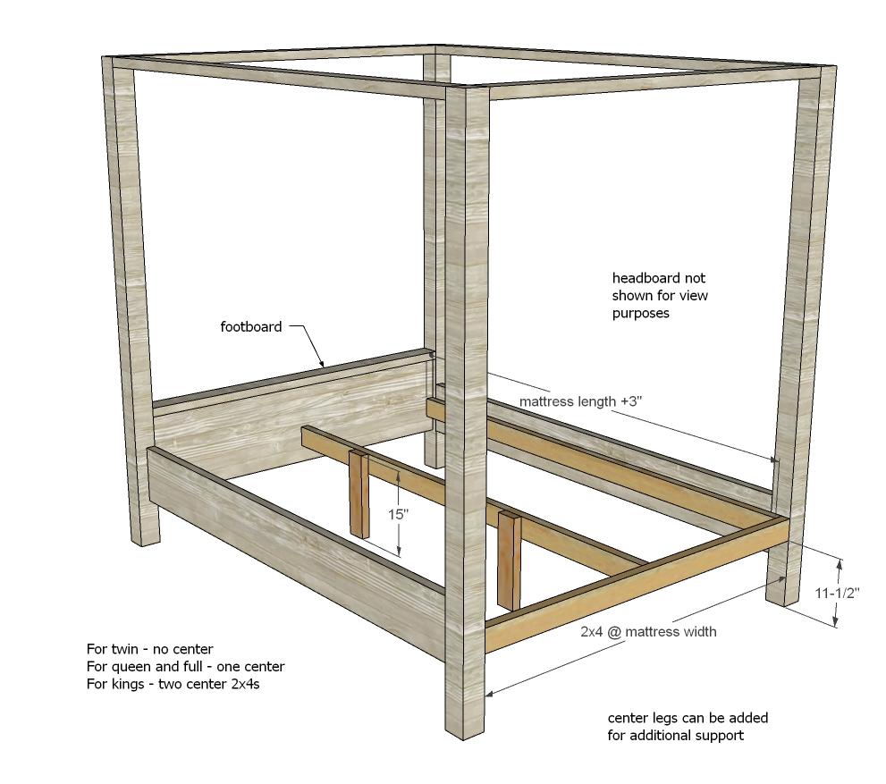 farmhouse canopy bed frame all sizes
