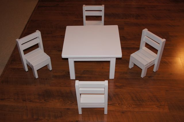 Ana White  Claras Table and 4 stackable chairs sized for