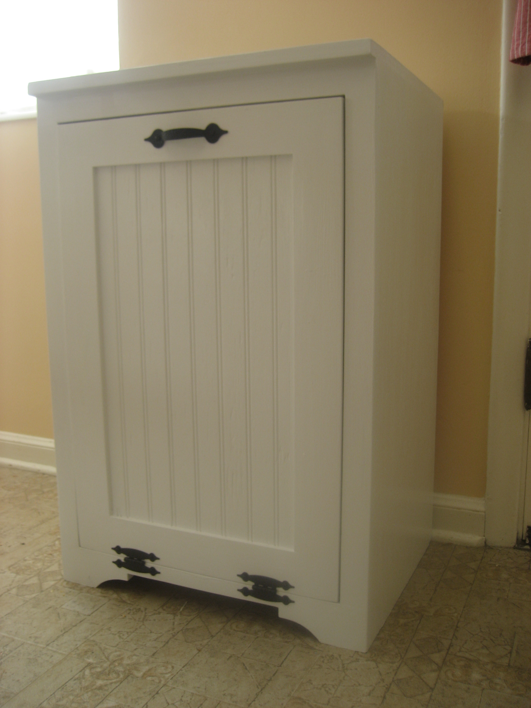 white kitchen trash can 33x19 sink ana tilt out wood cabinet diy projects