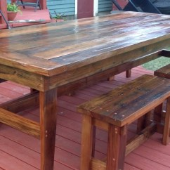 Rustic Farm Table And Chairs Wood Desk With Wheels Ana White Benches Diy Projects