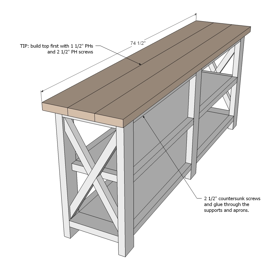 sofa table size knoll florence ana white rustic x console diy projects