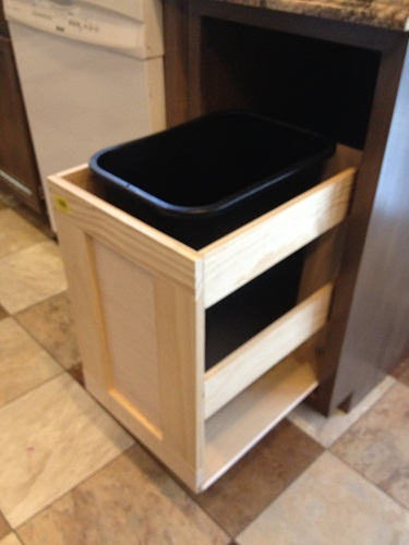 kitchen trash can pull out farmhouse style faucets ana white cabinet diy projects