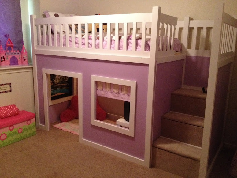 Ana White Chloe S Purple Playhouse Bed Diy Projects