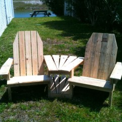 Pallet Wood Chair Outdoor Wooden Rocking Chairs Black Ana White Double Pallirondack Settee Diy Projects