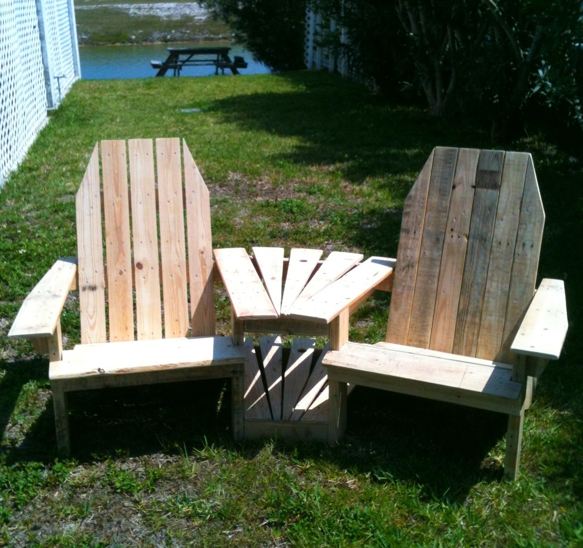 metal adirondack chairs office chair for back pain ana white double pallirondack settee diy projects