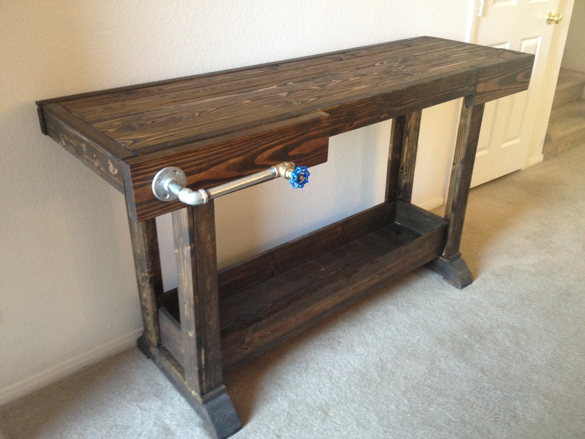 making your own sofa table pottery barn ana white workbench console diy projects