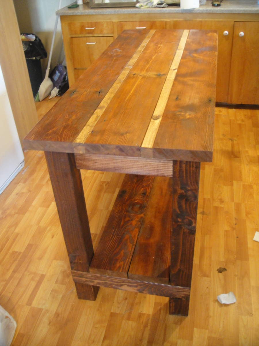 oak kitchen islands mission cabinets ana white island from reclaimed wood diy projects