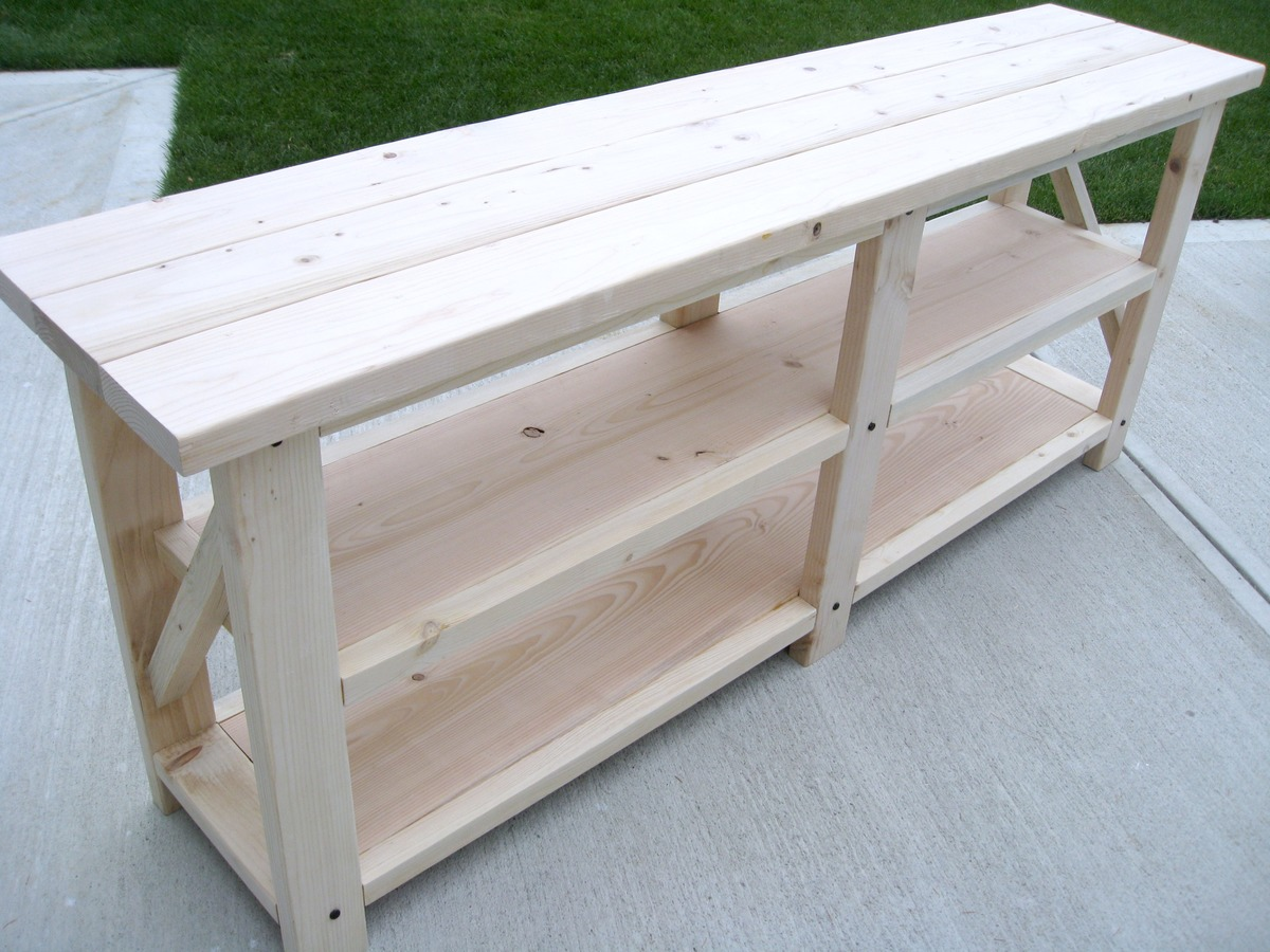 build a rustic sofa table small l shaped with recliner ana white diy x console projects