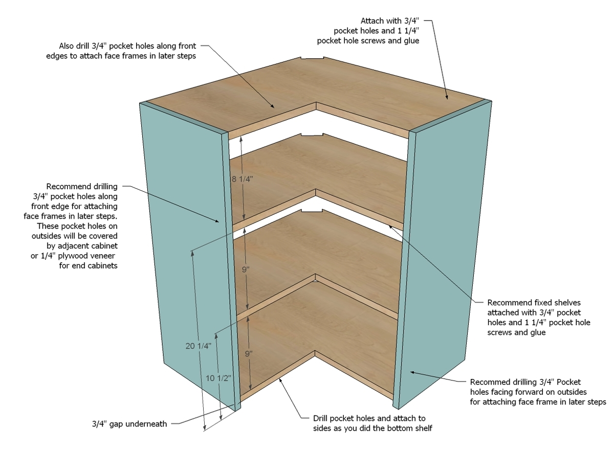 building kitchen wall cabinets ideas for small ana white corner pie cut cabinet diy projects