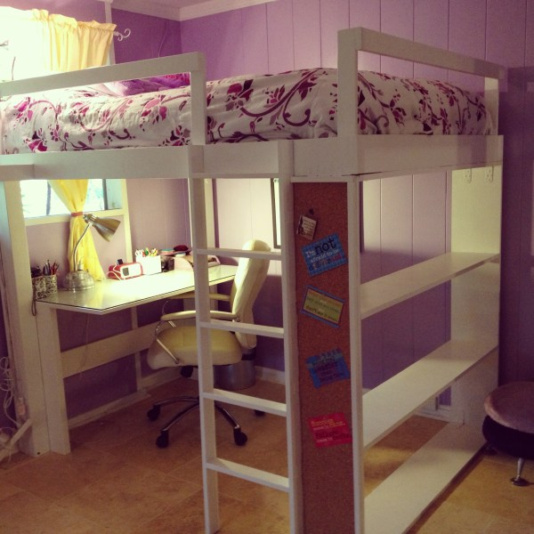 Teen Girl Loft Bed with Desk