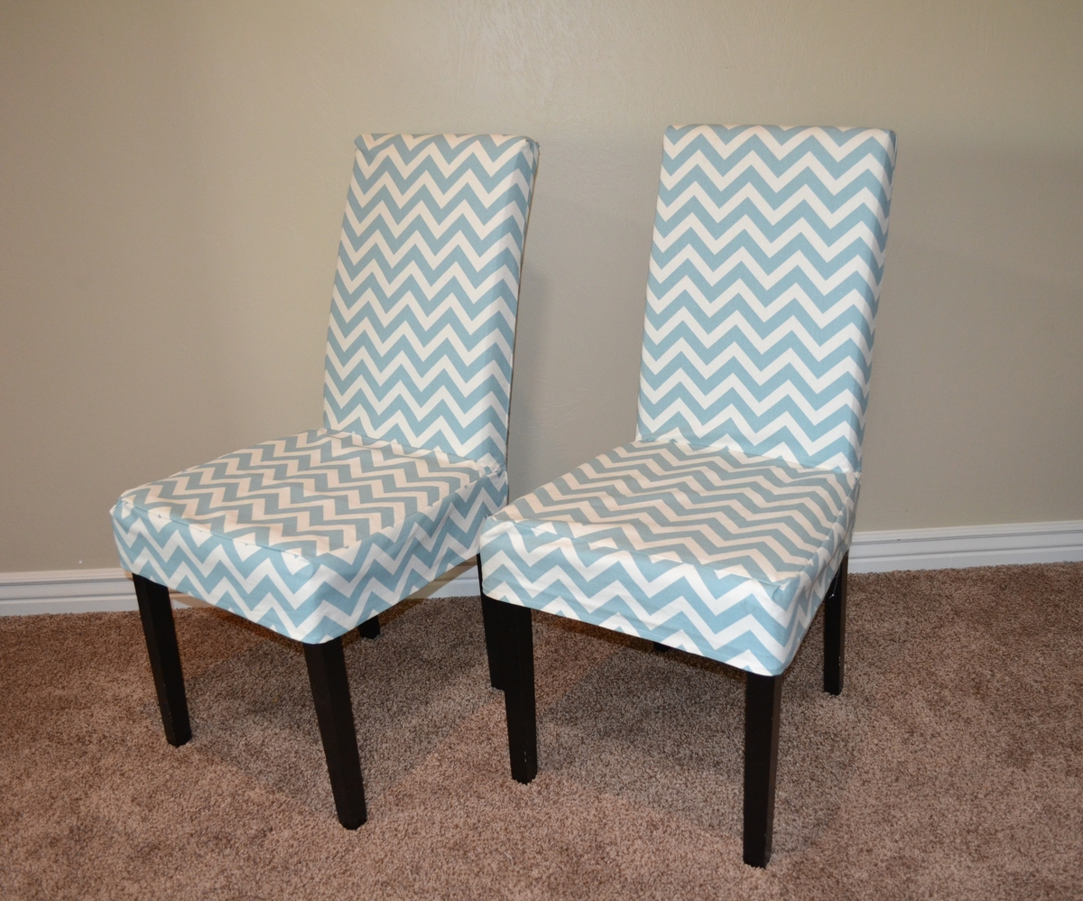 Ana White  Parson Chair Slip Cover with Chevron Fabric