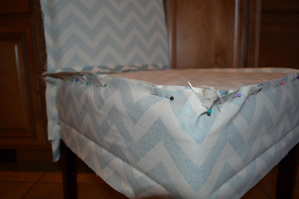 Ana White  Parson Chair Slip Cover with Chevron Fabric