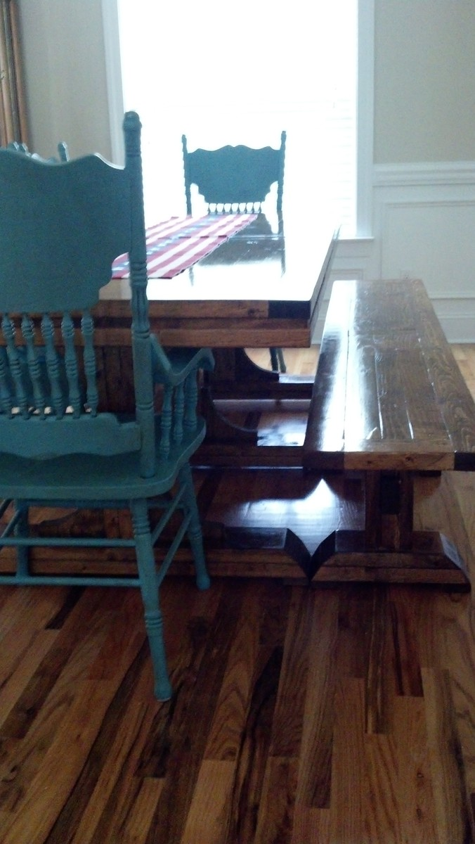 Ana White Triple Pedestal Farmhouse Table Amp Bench Diy