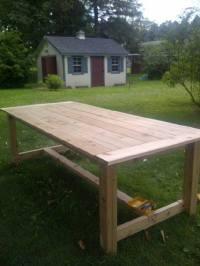 Ana White | Outdoor Farmhouse Table made of Cedar - DIY ...