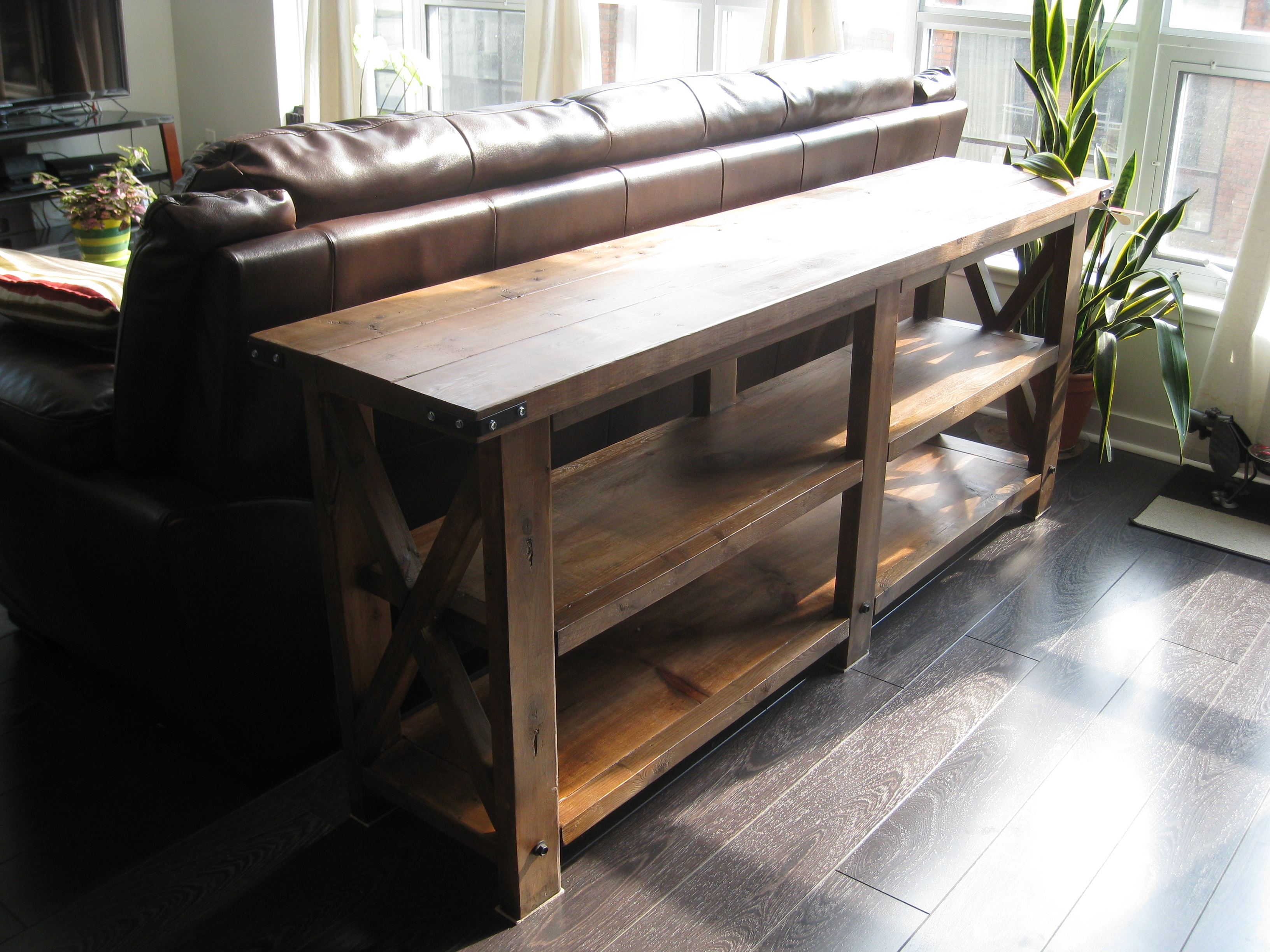 ana white rustic x console table ana white rustic x