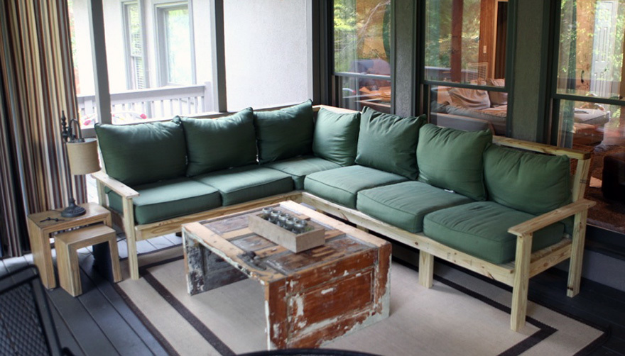 Ana White  Outdoor sectional couch with reclined back