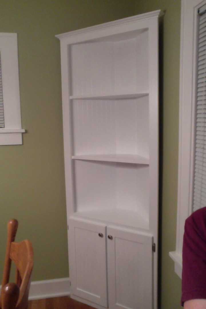 Ana White  Corner Cupboard in Cottage White  DIY Projects