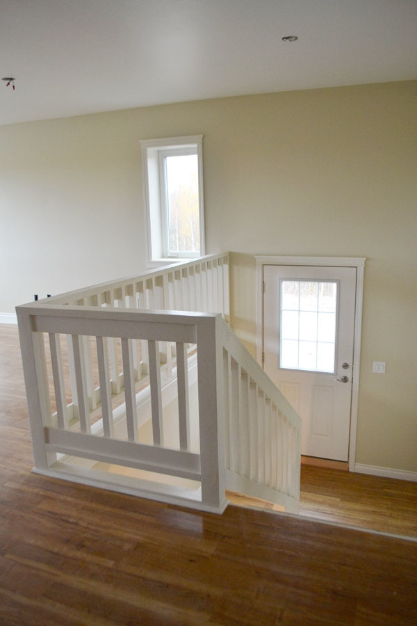 Stair Railing Ana White   White Wood Stair Railing   Timber White   Build Stair   Metal   Glass   Before And After