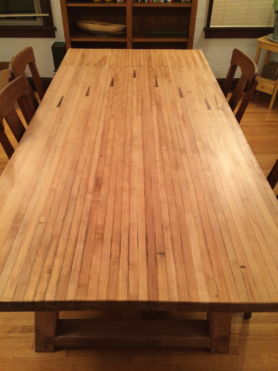 Ana White  farmhouse table with bowling alley top  DIY Projects