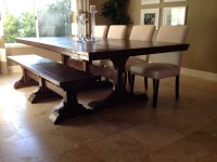 Ana White | Triple Pedestal Farmhouse Table and Bench ...