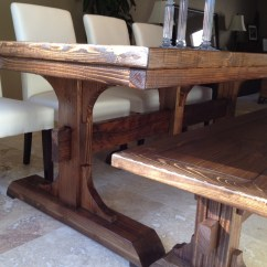 Farmhouse Table And Chairs With Bench Stairway Chair Lift Ana White Triple Pedestal
