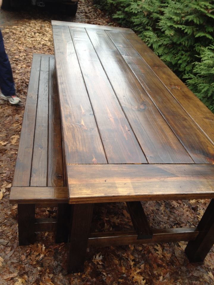 Ana White 9 Foot Farmhouse Table And Bench DIY Projects