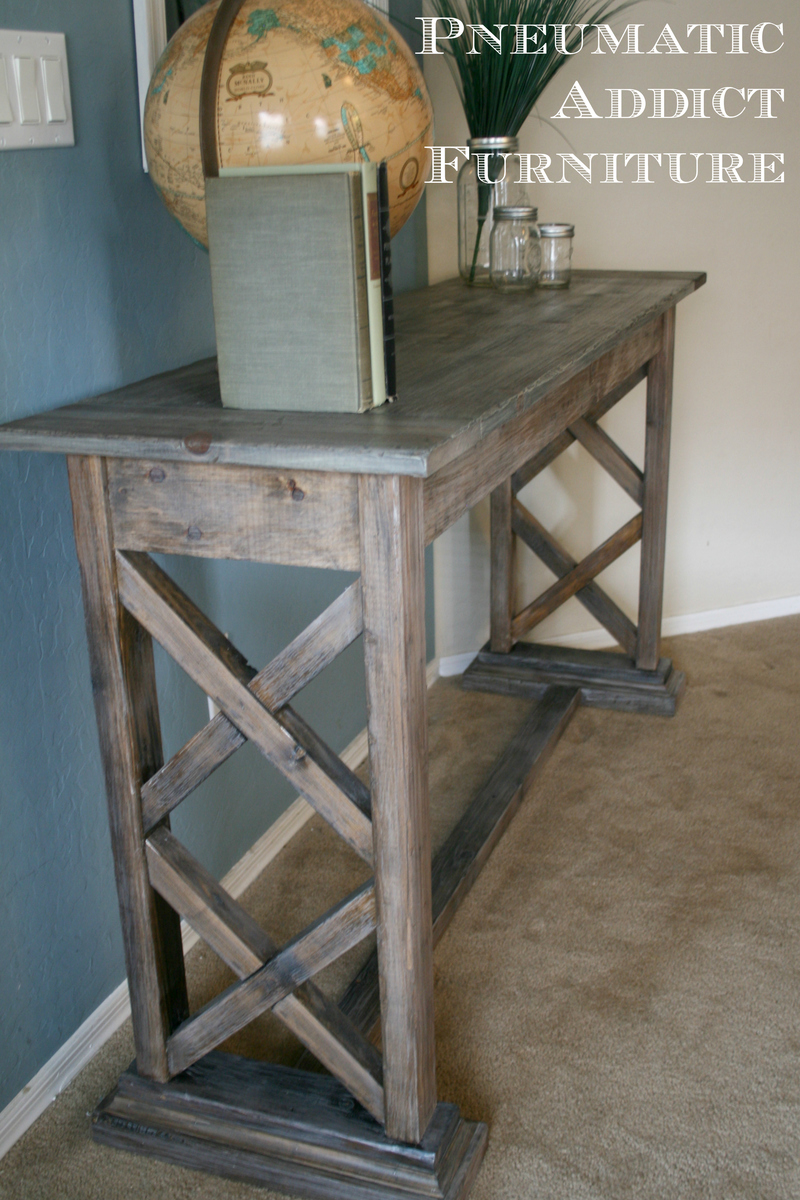 how to make a sofa table top living room designs with grey ana white double x trestle console diy projects