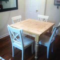 Farmhouse Kitchen Tables Built In Trash Cans For The Ana White Square Turned Leg Table Diy Projects