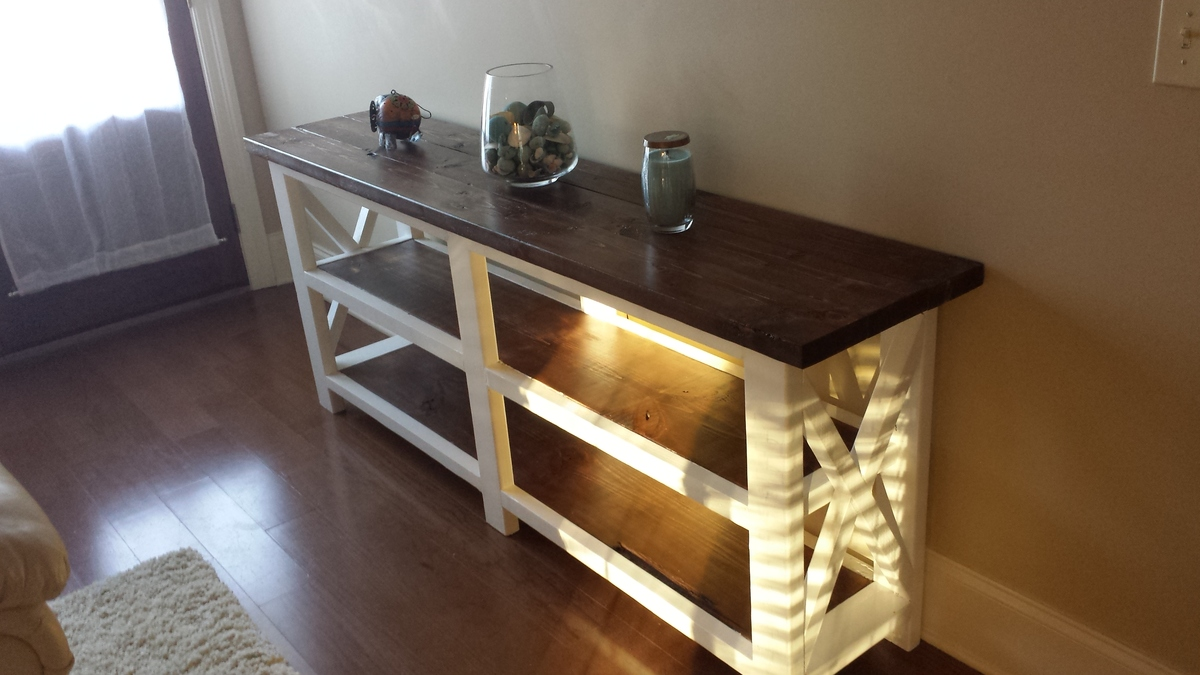 build a rustic sofa table set with corner ana white x console the beginning diy