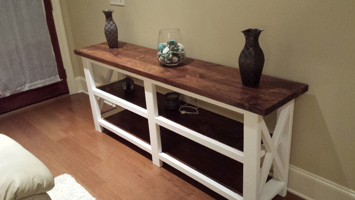 rustic cream sofa table frozen flip out australia ana white x console the beginning diy