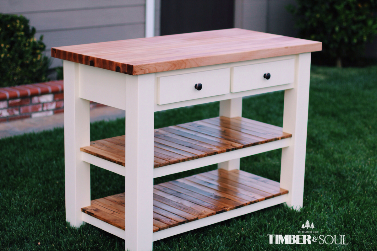 white kitchen island cart sink options ana butcher block diy projects
