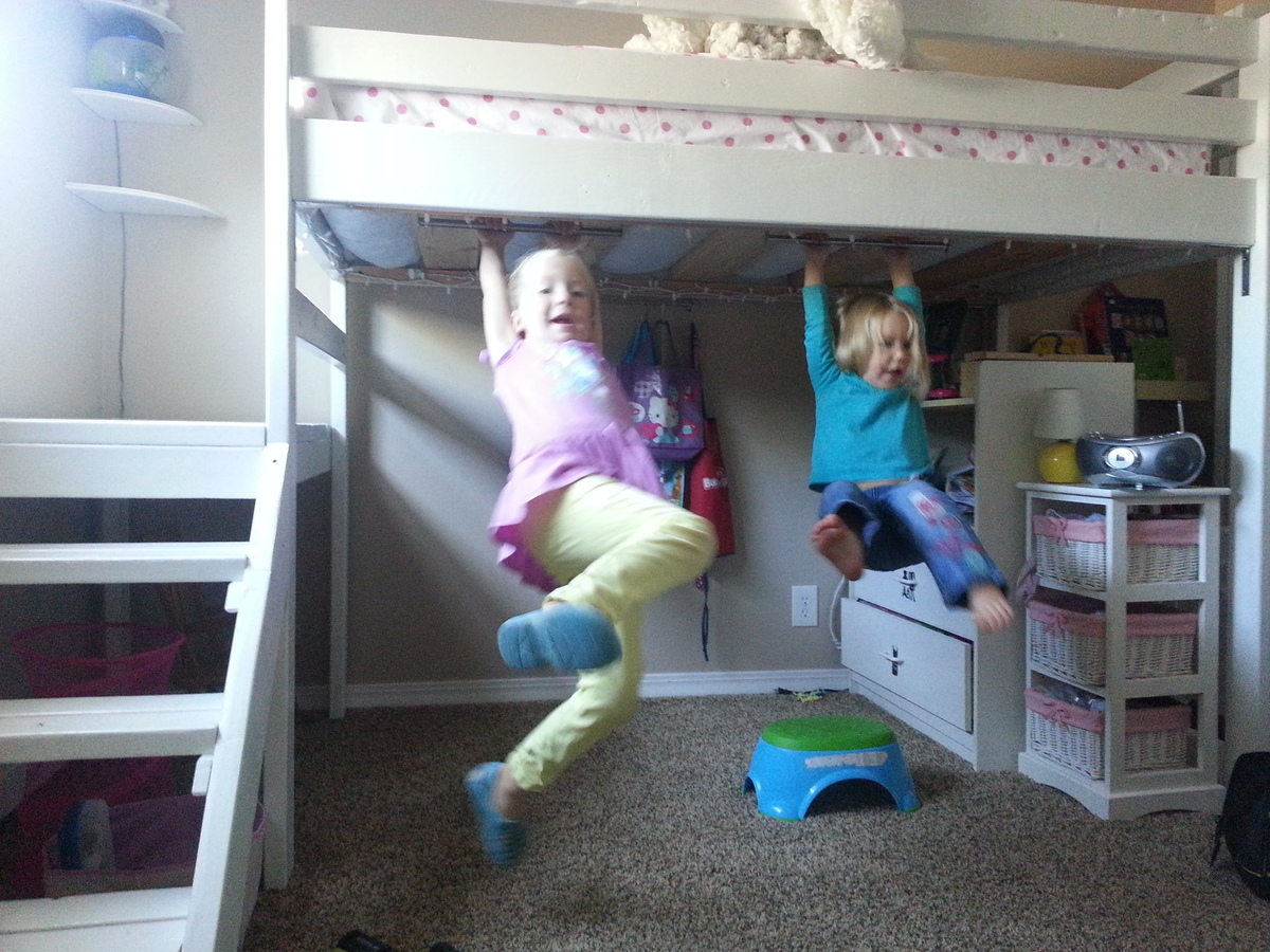 Ana White Camp Loft Bed With Puppet Theater Amp Swing Bars