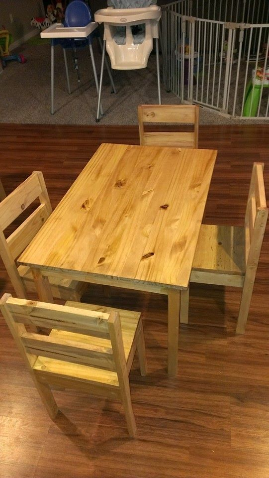 Ana White  Childrens table and chairs  DIY Projects