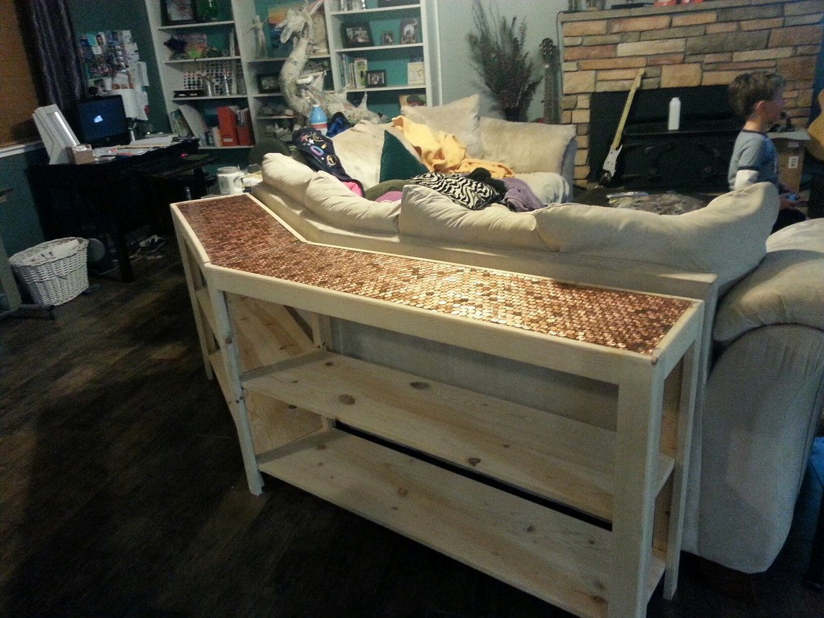 ana white sofa table brown and cream fabric corner two piece diy projects
