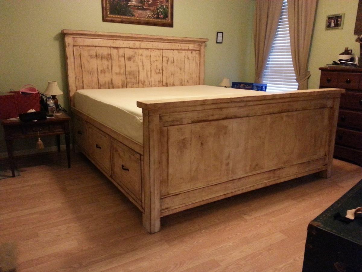 Ana White Distressed Farmhouse Storage Bed