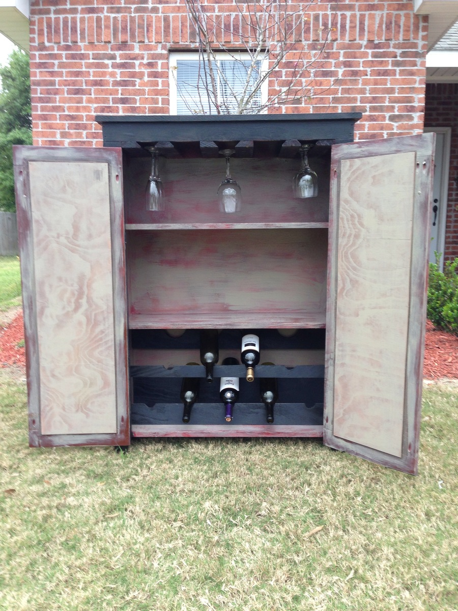 Ana White  Wine Cabinet  Made from jelly cupboardpie