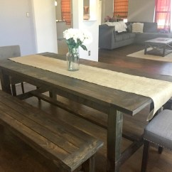 Farmhouse Table And Chairs With Bench Evac Chair 600h Ana White Dining Room Benches