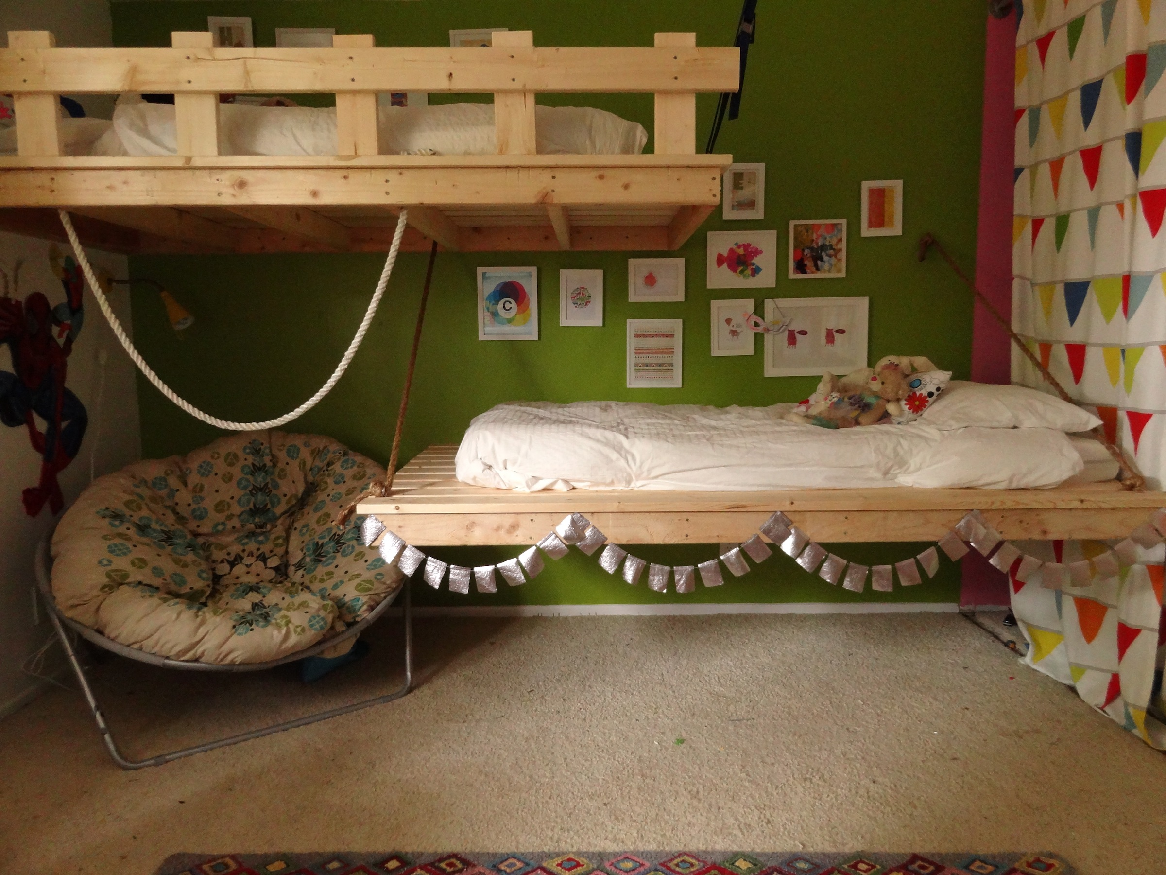 hanging chair for bedroom diy modern reclining chairs beds our 3 and 5 year olds ana white