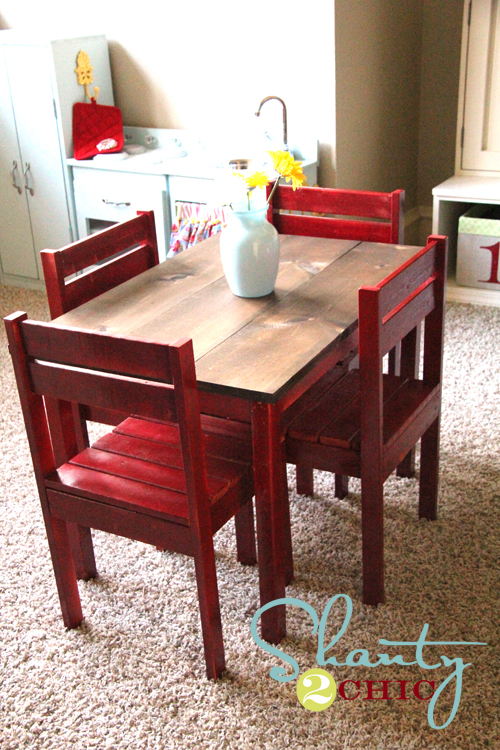 Ana White  Kids Play Table and Stackable Chairs  DIY