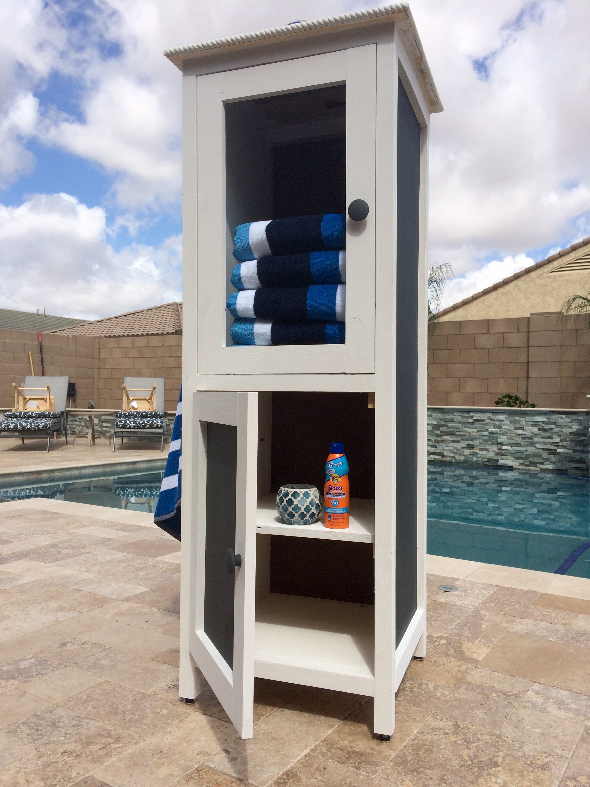 Ana White Poolside Towel Cabinet From Benchmark Cabinet