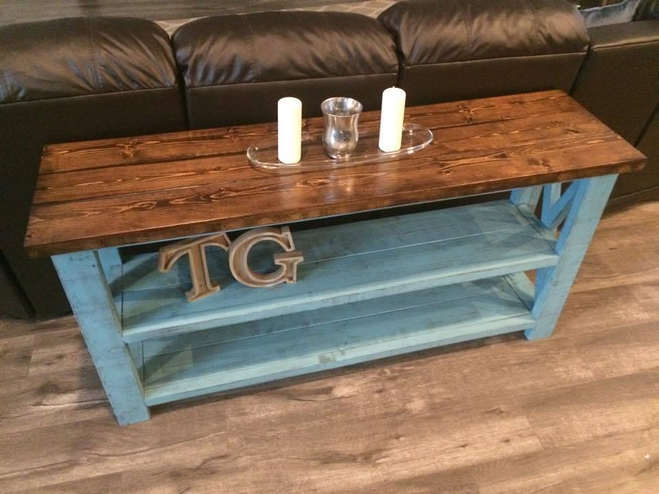 rustic x sofa table ana white