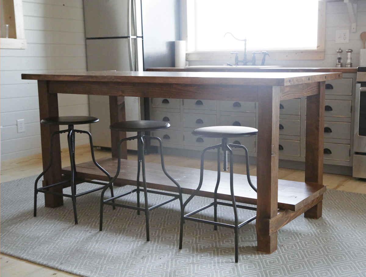 kitchen workbench round table and chairs ana white farmhouse style island for alaska lake cabin diy projects