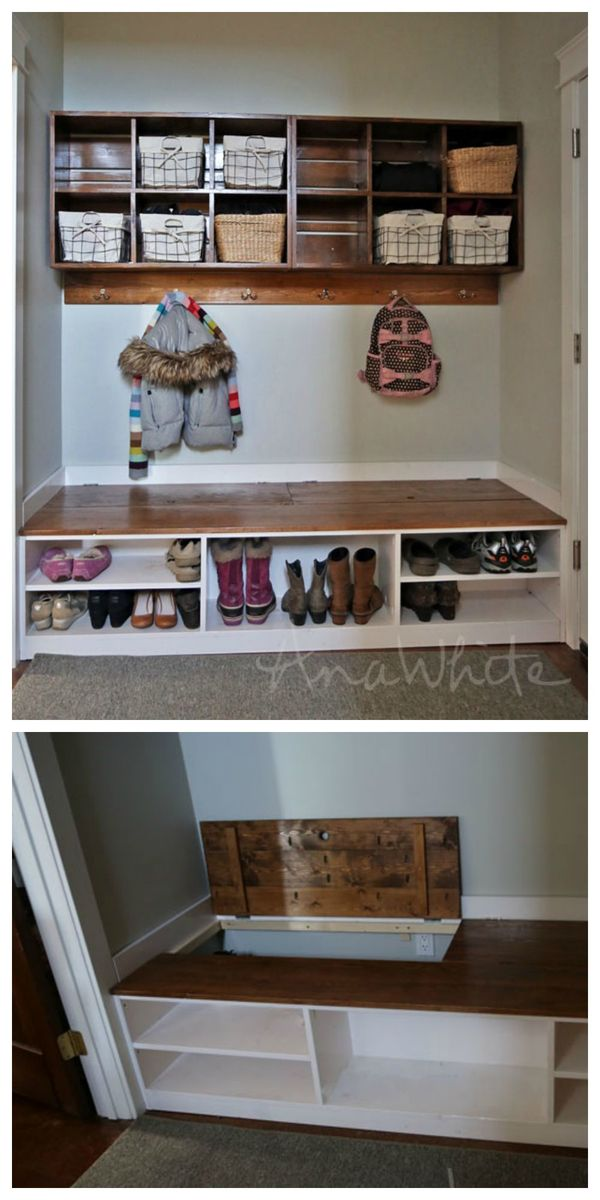 Mudroom Bench with Shoe Storage