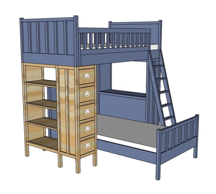 dresser bookshelf support for cabin