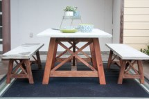 X Base Outdoor Concrete Table And Bench Set Ana White