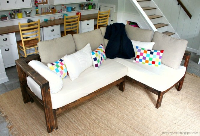 Easy Diy Kids Couch Made With 2x4s And Crib Mattresses Very Inexpensive To Make Full Free Tutorial By Ana White